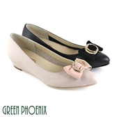 U33-21388 女款全真皮娃娃鞋  立體蝴蝶結金屬幾何全真皮小坡跟尖頭娃娃鞋【GREEN PHOENIX】