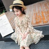 女童2019春裝新款碎花長袖洋裝兒童韓版洋氣雪紡公主淑女長裙子 滿天星