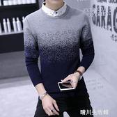 男士假兩件毛衣學生帶領針織衫青少年韓版毛線衣修身襯衫領打底衫 晴川生活館