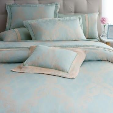 水韵木棉絲緹花七件式床罩組 雙人 綠