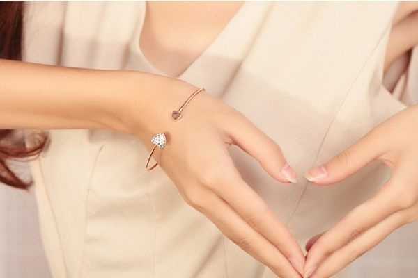 Star 日韓系列 - 雙愛心滿鑽手鏈 - C93
