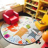 折疊圓形布質收納墊地墊兒童爬爬墊寶寶爬行墊環保游戲毯玩具收納