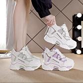 增高鞋 拼色老爹鞋子女2020年新款秋冬季厚底百搭內增高休閒運動鞋