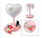 【Love Shop】愛心化妝鏡/情人閨蜜好姐妹禮物化妝鏡臺燈/梳妝鏡帶180°旋轉收納創意LED檯燈