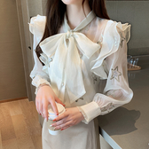 【GZ25】雪紡上衣 秋季新款韓版系帶蝴蝶結雪紡衫女繡花修身顯瘦女