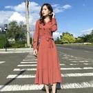 西裝洋裝 洋氣時尚西裝領連身裙2020秋冬新款氣質收腰顯瘦炸街打底魚尾長裙 艾維朵