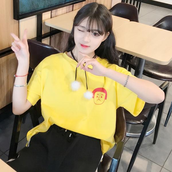 [超豐國際]夏季可愛卡通短袖T恤寬松中袖學生圓領上衣打底衫潮1入