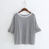 短袖T恤-條紋清新甜美荷葉袖時尚女上衣2色73sy28【巴黎精品】