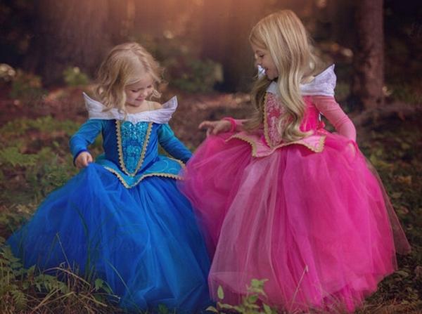 萬聖節  睡美人愛洛公主服裙禮服童裙網紗長袖蓬蓬裙 表演禮服(100~140cm)