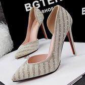 尖頭高跟鞋-多色可選水鑽吸睛女水晶婚鞋6色73e18[巴黎精品]