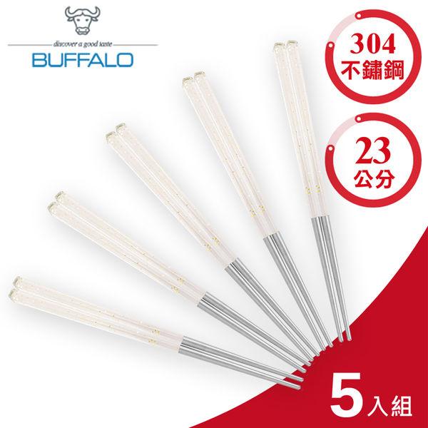 【牛頭牌】小牛彩晶不鏽鋼筷23cm(5入組)-彩透金