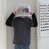 INS港風假兩件t恤 男早秋休閒純棉拼色學生寬鬆慵懶風潮流百搭上衣 降價兩天