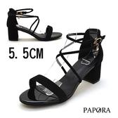 PAPORA低調性感粗中跟涼鞋KB51黑