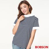 BOBSON 女款船領、橫條上衣(27081-53)