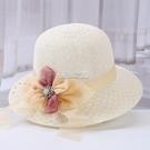 沙灘帽 【可折疊】遮陽帽子女韓版夏季圓臉防曬沙灘帽旅游草帽漁夫帽盆帽
