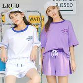 LRUD運動套裝女2019夏季新款寬鬆短袖T恤休閒闊腿褲熱褲兩件套潮