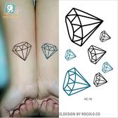 防水 紋身 貼紙 男女款 小清新 刺青 鑽石 符號 仿真 紋身 圖案 貼紙