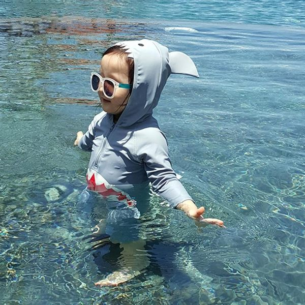 兒童泳裝 韓國寶寶卡通度假防曬游泳衣泳褲兒童連體鯊魚泳衣