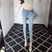 裝時尚扣子款修身氣質顯瘦單寧牛仔褲百搭潮人小腳褲女窄管褲