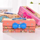 男女三層手提密碼文具盒卡通可愛兒童收納盒鉛筆盒小學生學習文具【新店開張85折促銷】