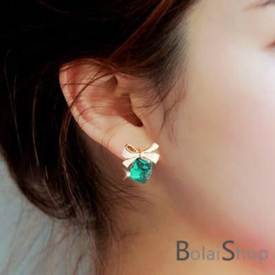 無耳洞耳環一對 新款韓系蝴蝶結愛情魔方水晶耳夾 2色R748系列-寶來小舖 Bolai shop-現貨販售