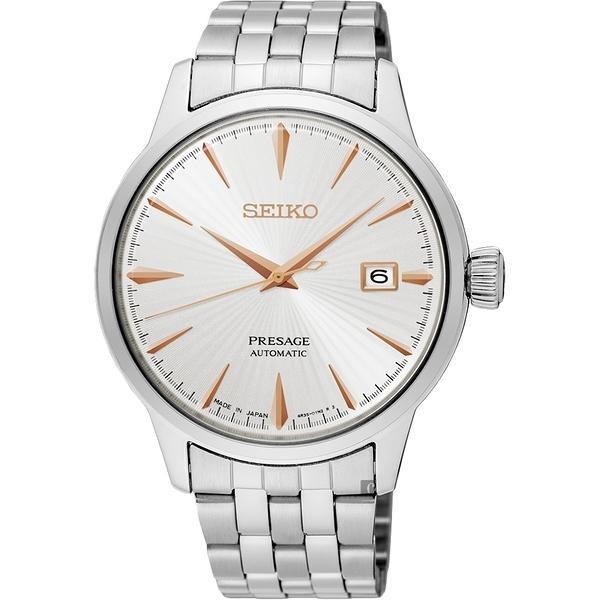 加碼送錶帶 SEIKO 精工 Presage Cocktail 調酒師機械錶-銀 4R35-01T0S(SRPB47J1)