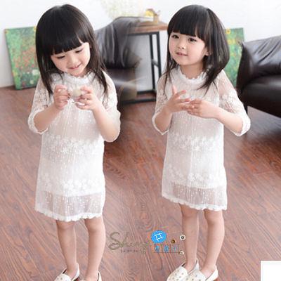 【R0061】shiny藍格子-嬰幼館.夏裝女童網紗蕾絲短袖連身裙