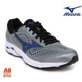 【Mizuno美津濃】男款馬拉松鞋 WAVE RIDER 22   超寬楦-灰/藍色(J1GC183225)全方位跑步概念館