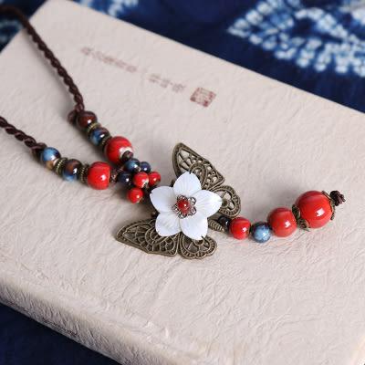 民族風 陶瓷 蝴蝶配飾 毛衣鏈 長款項鏈/3色 - 夢想家- 1128