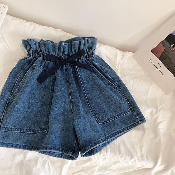 DE shop - 花苞繫帶高腰牛仔短褲 - FR-823