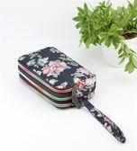 手拿包零錢包女長款帆布手拿包簡約三層拉鏈手包女士小包大容量手機包袋 伊羅鞋包