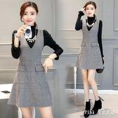 中大尺碼長袖兩件式洋裝 秋季套裝女毛衣兩件套針織毛呢連身裙 nm15226【pink中大尺碼】