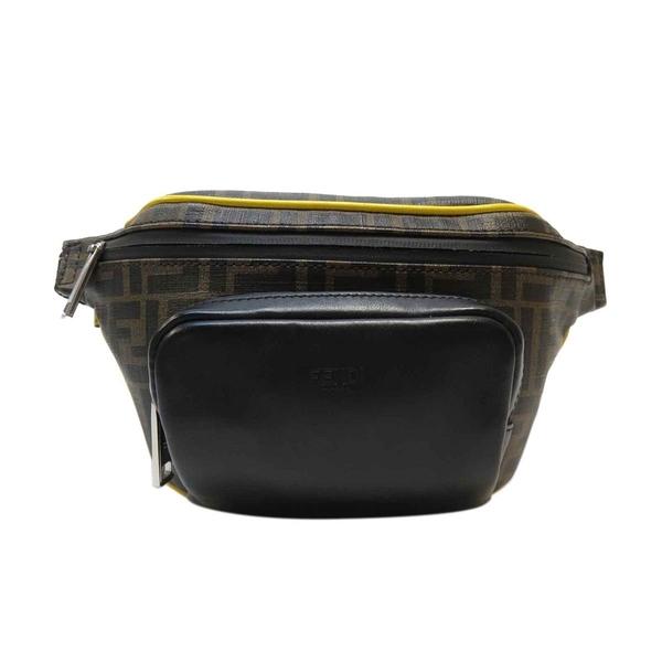FENDI 黃x黑色LOGO滿版拉鍊腰包胸包 Belt Bag 7VA446【二手名牌BRAND OFF】