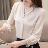 降價兩天 春秋女裝 長袖雪紡襯衫 很仙的上衣 設計感小眾洋氣襯衣