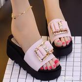 厚底拖鞋19鬆糕底室外涼鞋女夏坡跟一字拖高跟韓版潮蝴蝶結魚嘴厚底涼拖鞋 金曼麗莎