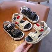 男童涼鞋 2021夏季兒童涼鞋防滑中大男童沙灘鞋女童黑色露趾軟底休閑寶寶鞋 夢藝家