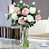 仿真花 假花擺件玫瑰花客廳擺設乾花花束插花餐桌花瓶真花裝飾花 卡菲婭