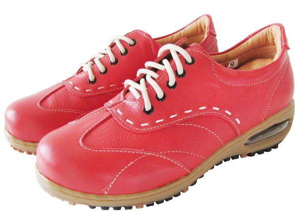『雙惠鞋櫃』★路豹Zobr★ 典雅線條感 女牛皮休閒鞋★台灣製造 (BB725) 紅