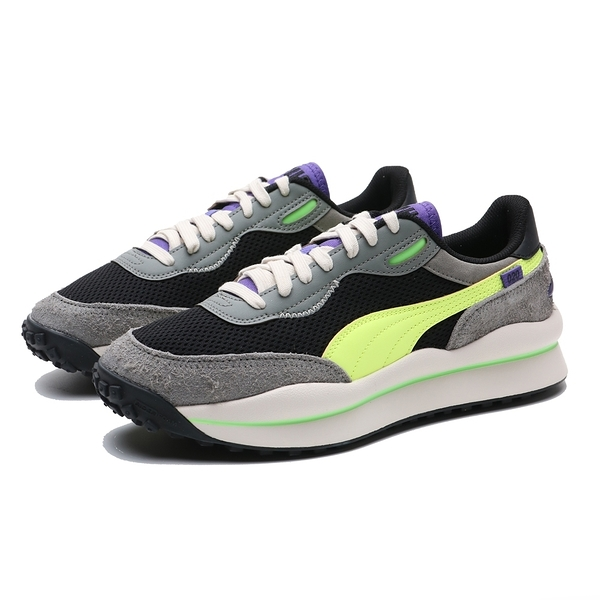 PUMA 慢跑鞋 STYLE RIDER NEO ARCHIVE 灰黑紫 鞋舌螢光綠 男(布魯克林) 37338101