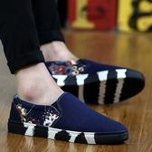 夏季 男鞋韓版潮流百搭帆布板鞋休閒社會潮鞋一腳蹬懶人老北京布鞋 聖誕裝飾8折