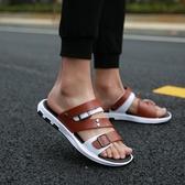 涼鞋-涼鞋男新款夏外穿室外時尚休閒軟底拖鞋男士涼拖夏季沙灘鞋哦交換禮物