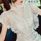 收腰白色超仙初戀裙蕾絲連身裙女