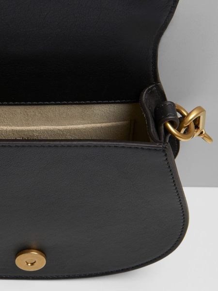 CHLOE 經典Nile bracelet系列小牛皮鞍型 手提/斜背包 兩用包 黑色