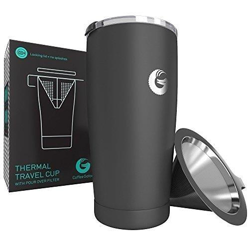 【美國代購】Coffee Gator Pour Over 咖啡壺- 一體化無紙旅行啤酒(灰色)