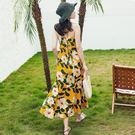 梨卡 - 度假波西米亞露背性感印花花朵縮腰後綁帶沙灘洋裝連身裙連身長裙長洋裝沙灘裙C6403