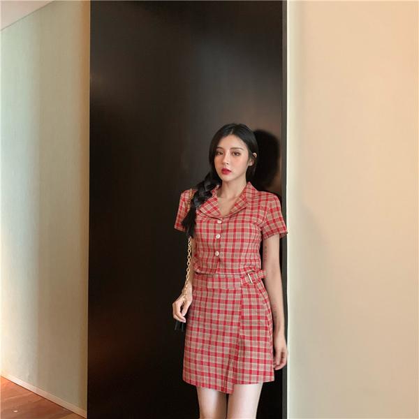 清倉388 韓系復古格子襯衣高腰半身裙套裝短袖裙裝