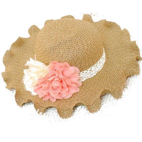 Qmishop 甜美公主範波浪邊 荷葉邊 草帽 太陽帽 遮陽帽 大簷帽 沙灘帽【QG787】帽子