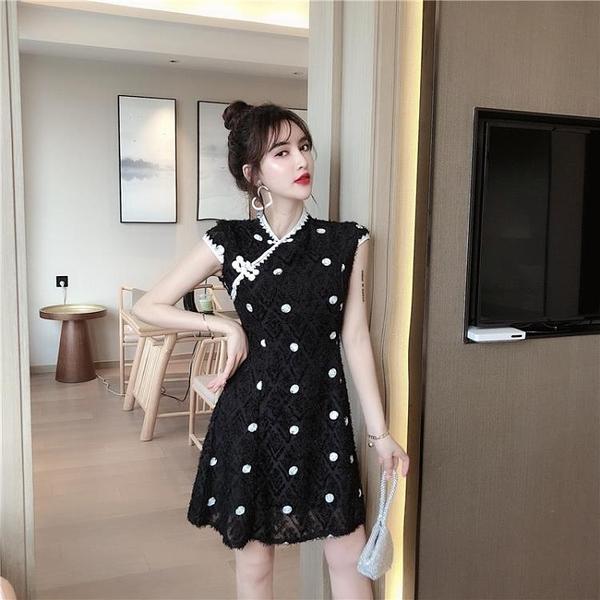 改良旗袍 復古2020夏季新款時尚氣質改良版旗袍短波點a字連衣裙年輕款少女