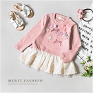 兔子蝴蝶結小花雕花拼接裙襬上衣 粉色 蕾絲 網紗 棉麻 可愛 韓版 長袖 女童 小洋裝 哎北比童裝