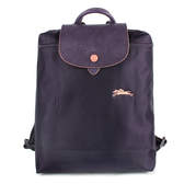 Longchamp Le Pliage刺繡LOGO折疊尼龍後背包(紫色)480210-645